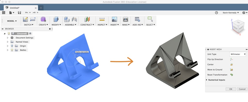 How to convert an STL file to a Solid body in Fusion 360