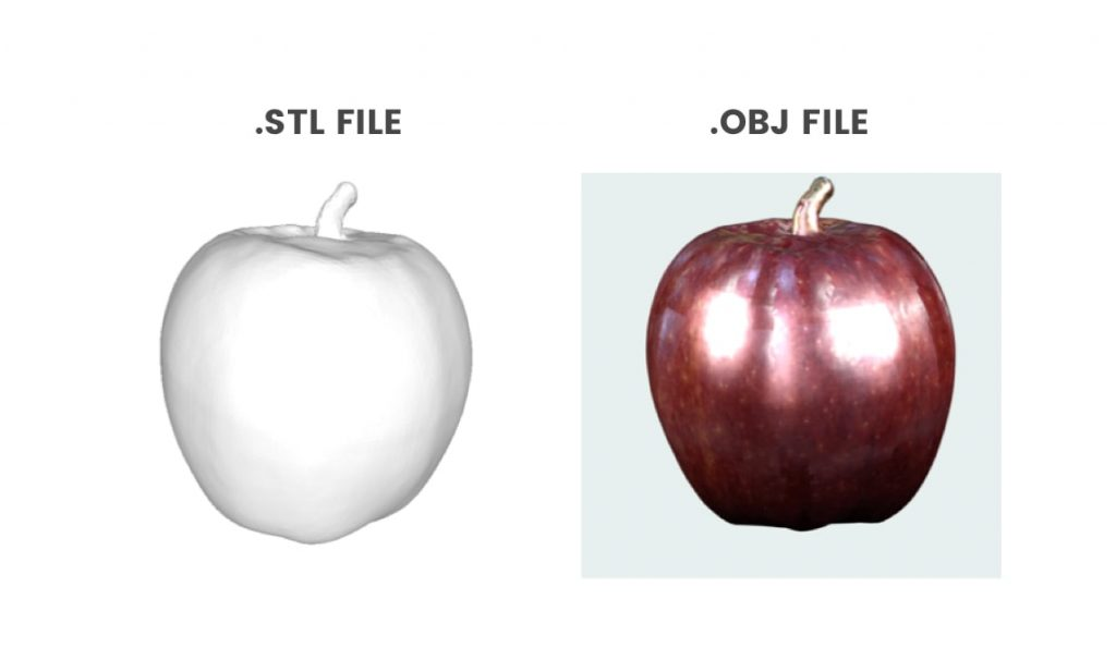 An STL file is simply a polygon mesh file, whereas an OBJ file is the same as the STL file but also includes color and detail on the outside of the model.