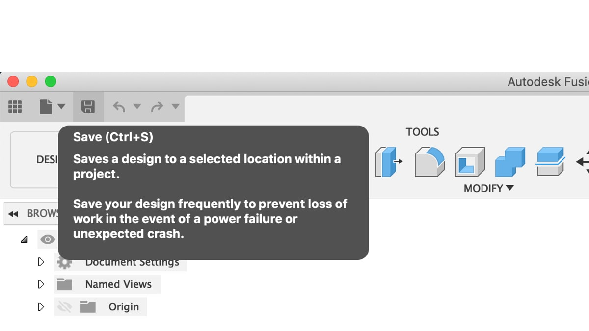 The save icon can be found in the upper-lefthand corner of Fusion 360's user interface