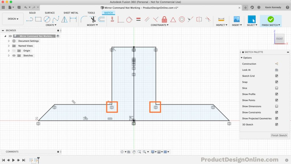 Notice the symmetry constraint icons that are automatically applied after the sketch mirror command is used in Fusion 360