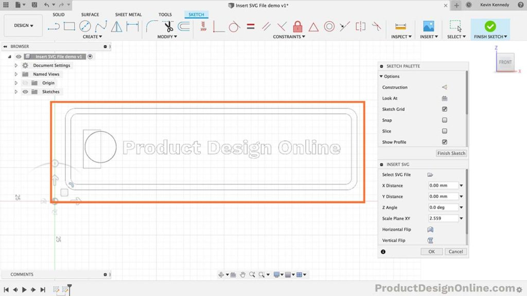 Only use SVG files with Fusion 360 when a logo or complex shape is needed in the 2D sketch