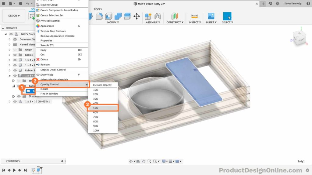 Adjust opacity of body in Fusion 360