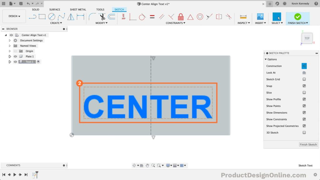 Add text in Fusion 360
