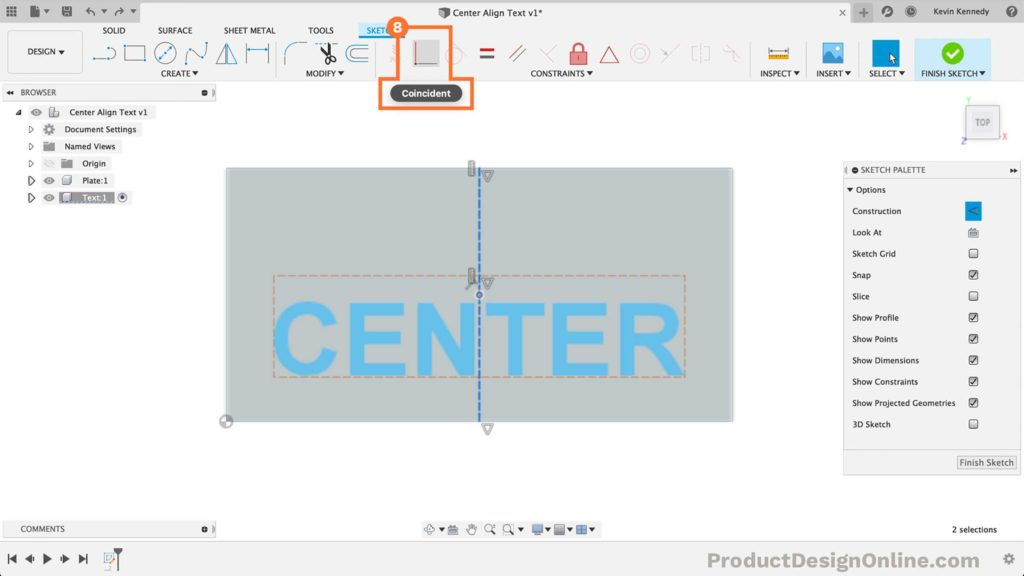 Add a coincident constraint to center align text in Fusion 360