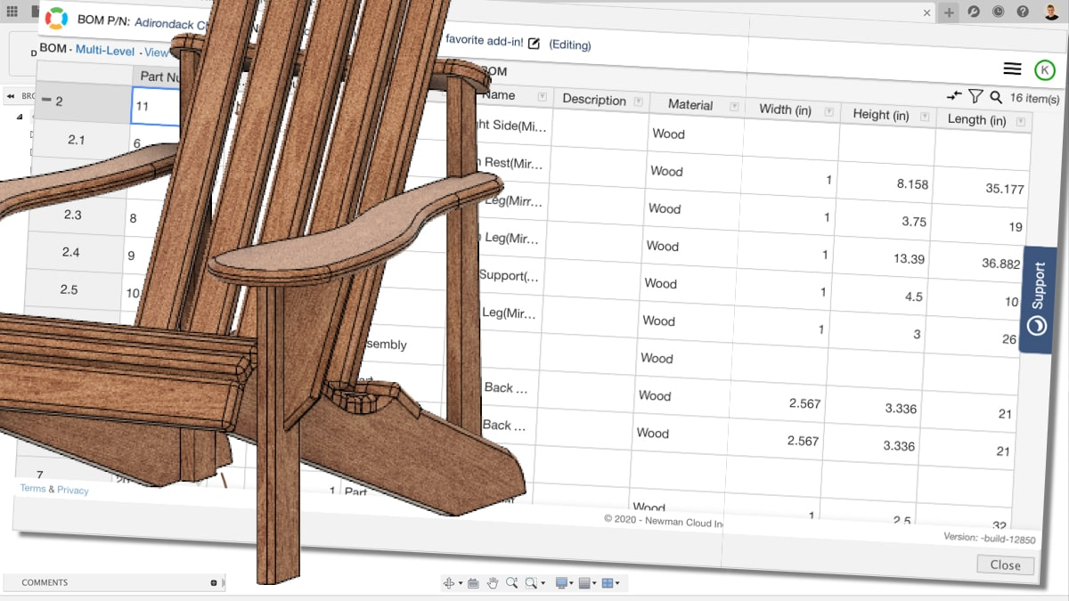 Create parts list with dimensions in Fusion 360 using the OpenBOM add-in.