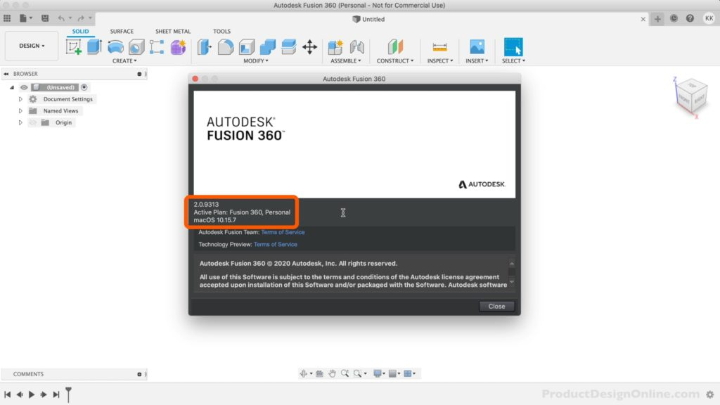 Find your active Fusion 360 license from the help menu